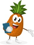Cute Pineapple Cartoon Vector Character AKA Sweetson Exotic - Holding a Notepad
