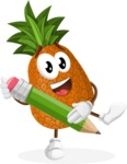 Cute Pineapple Cartoon Vector Character AKA Sweetson Exotic - Holding a Pencil