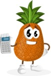 Cute Pineapple Cartoon Vector Character AKA Sweetson Exotic - Holding Calculator