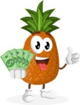 Cute Pineapple Cartoon Vector Character AKA Sweetson Exotic - Holding Cash Money Banknotes