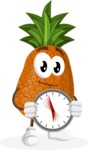 Cute Pineapple Cartoon Vector Character AKA Sweetson Exotic - Holding clock