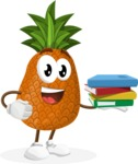 Cute Pineapple Cartoon Vector Character AKA Sweetson Exotic - Holding Education Books