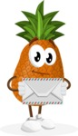 Cute Pineapple Cartoon Vector Character AKA Sweetson Exotic - Holding Mail Envelope