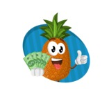Cute Pineapple Cartoon Vector Character AKA Sweetson Exotic - Holding Money Illustration Concept