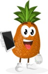 Cute Pineapple Cartoon Vector Character AKA Sweetson Exotic - Holding Tablet