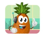 Cute Pineapple Cartoon Vector Character AKA Sweetson Exotic - In Office Illustration Concept