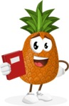 Cute Pineapple Cartoon Vector Character AKA Sweetson Exotic - Learning from Book
