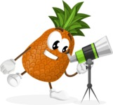 Cute Pineapple Cartoon Vector Character AKA Sweetson Exotic - Looking through telescope