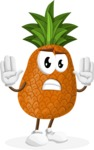 Cute Pineapple Cartoon Vector Character AKA Sweetson Exotic - Making stop gesture