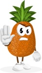 Cute Pineapple Cartoon Vector Character AKA Sweetson Exotic - Making stop with a hand