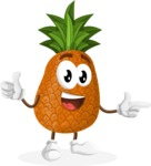 Cute Pineapple Cartoon Vector Character AKA Sweetson Exotic - Pointing and Smiling