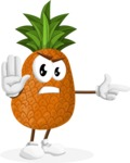 Cute Pineapple Cartoon Vector Character AKA Sweetson Exotic - Pointing with a Finger