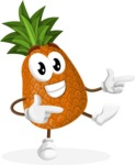 Cute Pineapple Cartoon Vector Character AKA Sweetson Exotic - Pointing with Hands