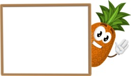 Cute Pineapple Cartoon Vector Character AKA Sweetson Exotic - Presenting on Blank Whiteboard Template