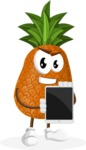Cute Pineapple Cartoon Vector Character AKA Sweetson Exotic - Presenting Tablet