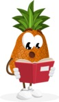 Cute Pineapple Cartoon Vector Character AKA Sweetson Exotic - Reading a Book