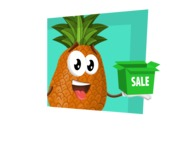 Cute Pineapple Cartoon Vector Character AKA Sweetson Exotic - Sale Illustration Concept