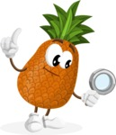Cute Pineapple Cartoon Vector Character AKA Sweetson Exotic - Searching with magnifying glass