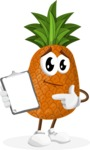 Cute Pineapple Cartoon Vector Character AKA Sweetson Exotic - Showing a Notepad