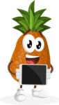 Cute Pineapple Cartoon Vector Character AKA Sweetson Exotic - Showing Blank Tablet
