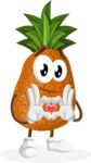 Cute Pineapple Cartoon Vector Character AKA Sweetson Exotic - Showing Love with Heart
