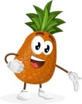 Cute Pineapple Cartoon Vector Character AKA Sweetson Exotic - Showing with a Hand