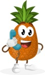 Cute Pineapple Cartoon Vector Character AKA Sweetson Exotic - Talking on Phone