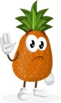 Cute Pineapple Cartoon Vector Character AKA Sweetson Exotic - Waving for Goodbye with a Hand