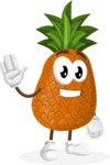Cute Pineapple Cartoon Vector Character AKA Sweetson Exotic - Waving for Hello with a Smiling Face