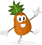 Cute Pineapple Cartoon Vector Character AKA Sweetson Exotic - Waving with a Hand
