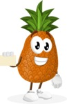 Cute Pineapple Cartoon Vector Character AKA Sweetson Exotic - With a Blank Business card
