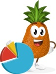 Cute Pineapple Cartoon Vector Character AKA Sweetson Exotic - With a Business Pie Chart