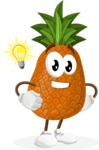 Cute Pineapple Cartoon Vector Character AKA Sweetson Exotic - With a Light Bulb