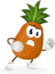 Cute Pineapple Cartoon Vector Character AKA Sweetson Exotic - With Angry Face
