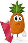 Cute Pineapple Cartoon Vector Character AKA Sweetson Exotic - With Arrow going Down