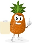 Cute Pineapple Cartoon Vector Character AKA Sweetson Exotic - With Blank Paper