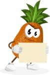 Cute Pineapple Cartoon Vector Character AKA Sweetson Exotic - With Blank Sign