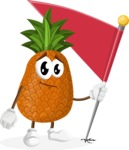 Cute Pineapple Cartoon Vector Character AKA Sweetson Exotic - with Flag