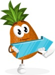 Cute Pineapple Cartoon Vector Character AKA Sweetson Exotic - with Forward Arrow