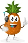 Cute Pineapple Cartoon Vector Character AKA Sweetson Exotic - With Headphones
