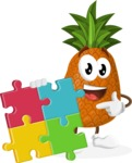 Cute Pineapple Cartoon Vector Character AKA Sweetson Exotic - with Puzzle