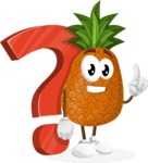 Cute Pineapple Cartoon Vector Character AKA Sweetson Exotic - with Question mark