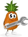 Cute Pineapple Cartoon Vector Character AKA Sweetson Exotic - with Repairing tool - wrench
