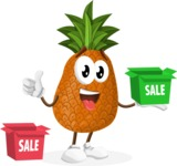 Cute Pineapple Cartoon Vector Character AKA Sweetson Exotic - With Sale Boxes