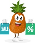 Cute Pineapple Cartoon Vector Character AKA Sweetson Exotic - With Shopping Bags