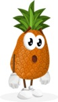Cute Pineapple Cartoon Vector Character AKA Sweetson Exotic - With Stunned Face