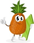 Cute Pineapple Cartoon Vector Character AKA Sweetson Exotic - with Up arrow