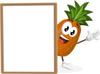 Cute Pineapple Cartoon Vector Character AKA Sweetson Exotic - With Whiteboard and Smiling