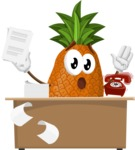 Cute Pineapple Cartoon Vector Character AKA Sweetson Exotic - Working On Desk and Stressed from Work
