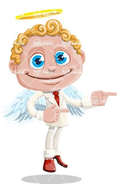 Business Angel Cartoon Vector Character AKA Angello - Point 2